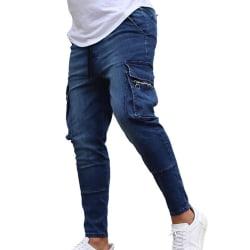 Men's Close Pocket Zip Jeans Blue 2XL