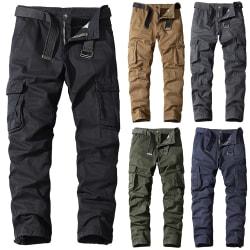 Men's Cotton Fitting Straight Multi-Pocket Overalls Pants Khaki 34