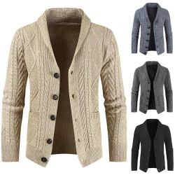 Men's Crochet Cardigan Loose Thick Sweater Coat Black L