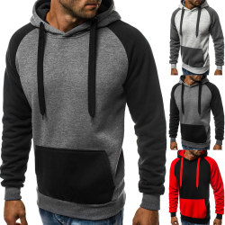 Men's Double Color Drawstring Hooded Sweater Dark Grey & Black 3XL