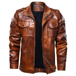 Men's Fashion Casual Aviator PU Leather Jacket Brown 2XL