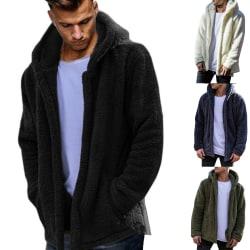 Men's Fluffy Hoodie Warm Coat Black 3XL