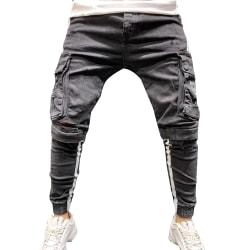 Men's Jeans Trendy Knees Ripped Zipper Trousers Light Blue L