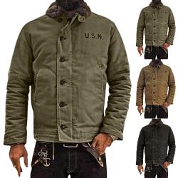 Men's Lapel Down Plush Button Warn Jacket Coat Black XL