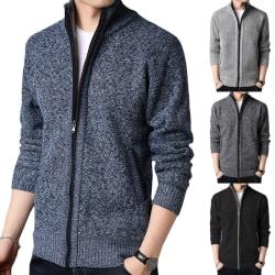 Men's Lapel Knit Cardigan Zipper dark gray L