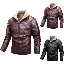 Men's Lapel Zipper Leather Motorcycle Jacket Coat Black XL