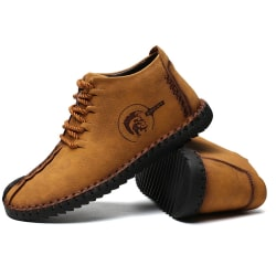 Men's Short Boots Lace-up Casual Cashmere Boots Gold 42