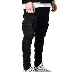 Men's Side Pocket Close-Fitting Jeans Black L