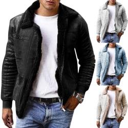 Men's Solid Color Lapel Warm Thickness Coat White L