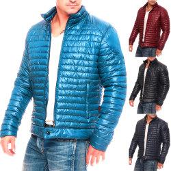 Men's Solid Color Striped Down Warm Coat Black 2XL