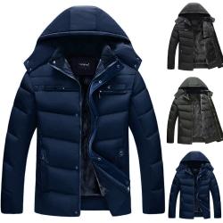 Men's Solid Color Warm Hooded Down Jacket Coat Black 3XL