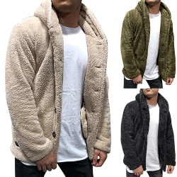 Men's Suede Coat Hooded Button Cardigan beige 3XL