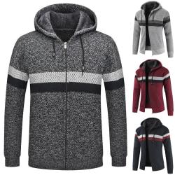 Men's Zipper Striped Patchwork Hoodie Warn Coat Light Grey 2XL