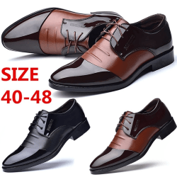Men Sequin Lace-up Soft Pointed Toe black 40