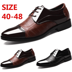 Men Sequin Lace-up Soft Pointed Toe Shoes brown 48
