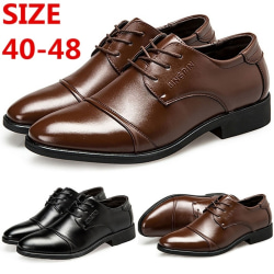 Men Sewing Thread Solid Color Lace up Shoes black 47