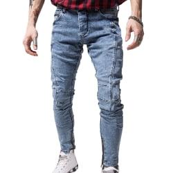 Herr Skinny Denim Jeans Byxor Zip Casual Underdelar Blue M