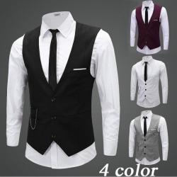Men Slim Fit Dress Vests Suit Coats wine red L