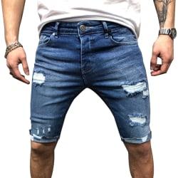 Men Slim Jeans Torn Cargo Pants Light Blue 2XL