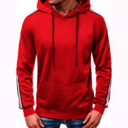 Men Solid Color Hoodies Winter Warm Casual wine red 3XL