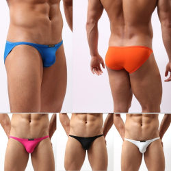 Men Solid Color Triangle Swimsuit Brief Male orange M