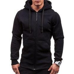 Men Solid Color Zipper Hooded Jacket Casual Outdoor Sports Coats Black 3XL