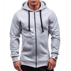 Men Solid Color Zipper Hooded Jacket Casual Outdoor Sports Coats light gray 2XL