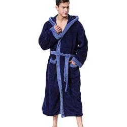 Men Stitched Hooded Pocket Bathrobe Straps Long Sleeve Pajamas Blue 4XL