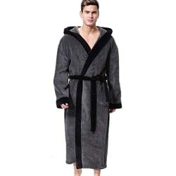 Men Stitched Hooded Pocket Bathrobe Straps Long Sleeve Pajamas Gray M