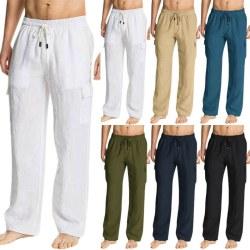 Men Summer Casual Loose Long Pants Drawstring Sports Yoga Navy Blue 3XL