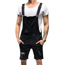 Men Suspender Denim Short Jeans Black L
