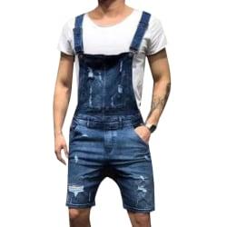 Men Suspender Denim Short Jeans Deep Blue M