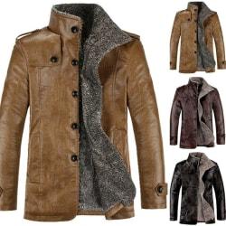 Men Warmer Jacket Overcoat Leather Lamb Fur Lined Thick Coat Khaki 5XL
