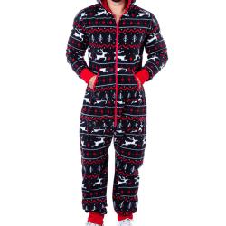 Men Winter Christmas Hooded Zip Jumpsuit Pyjamas Sleeping Suit Deer Dark Cyan L
