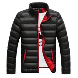 Men Winter Warm Down Jacket Stand-up Collar Lightweight Coat Black L