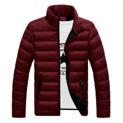 Men Winter Warm Down Jacket Stand-up Collar Lightweight Coat Dark red L