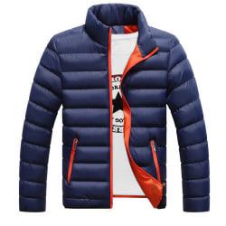 Men Winter Warm Down Jacket Stand-up Collar Lightweight Coat Deep blue L