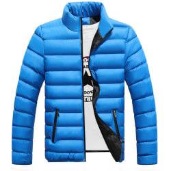 Men Winter Warm Down Jacket Stand-up Collar Lightweight Coat Royal blue 2XL