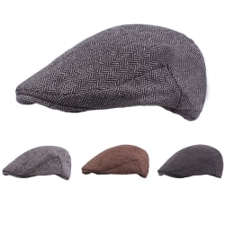 Män Kvinnor Bomull Randig Beret Enfärgad Flat Top Hat Utomhus Light gray