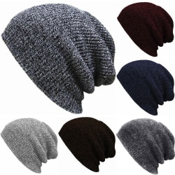 Men Women Knitted Cap Soft Elastic Leisure Outdoors scarves Deep gray