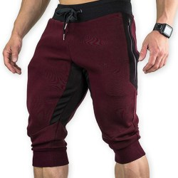 Men Zipper Pocket Cotton Sweat Shorts Wine Red XL