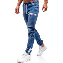 Men Zipper Pockets Drawstring Jeans Deep Blue XL
