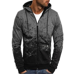 Mens Camo Floral Sport Hoodies Sweatshirt Long Sleeve Coat Dark Grey M