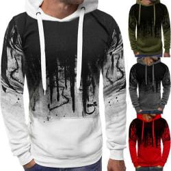 Mens Camouflage Hooded Sweatshirt Fitness Pullover Jacket Light Grey M