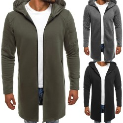 Mens Cardigan Windbreaker Solid Color Hooded gray XL