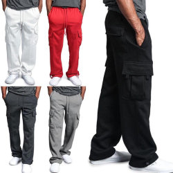 Mens Casual Cargo Pants Multi Pockets Straight black 3XL