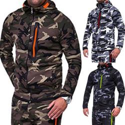 Mens Coat Hoodie Camouflage Zip Fleece Camo Tracksuit dark Grey XL