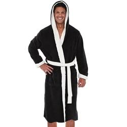 Mens Dressing Gown Robe Bathrobe Winter Soft Warm Sleepwear Black-White 3XL
