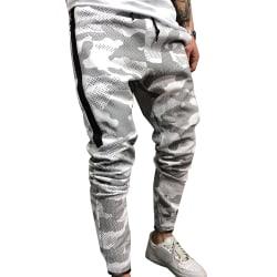Mens Elastic Waist Camo Sweatpants Casual Slim Fit Pants White XL