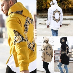 Mens Floral Prints Hoodie Hooded Loose White XL